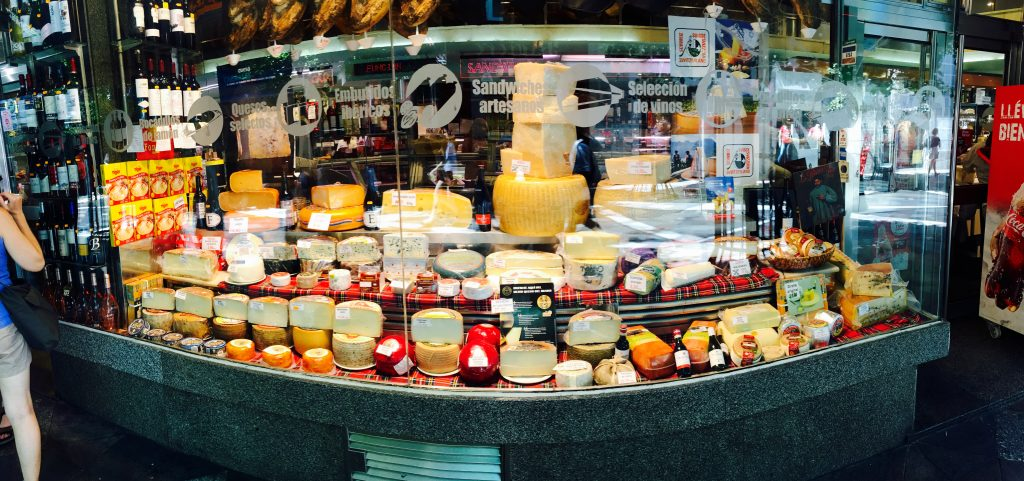 Bountiful Cheese Counter in Madrid.